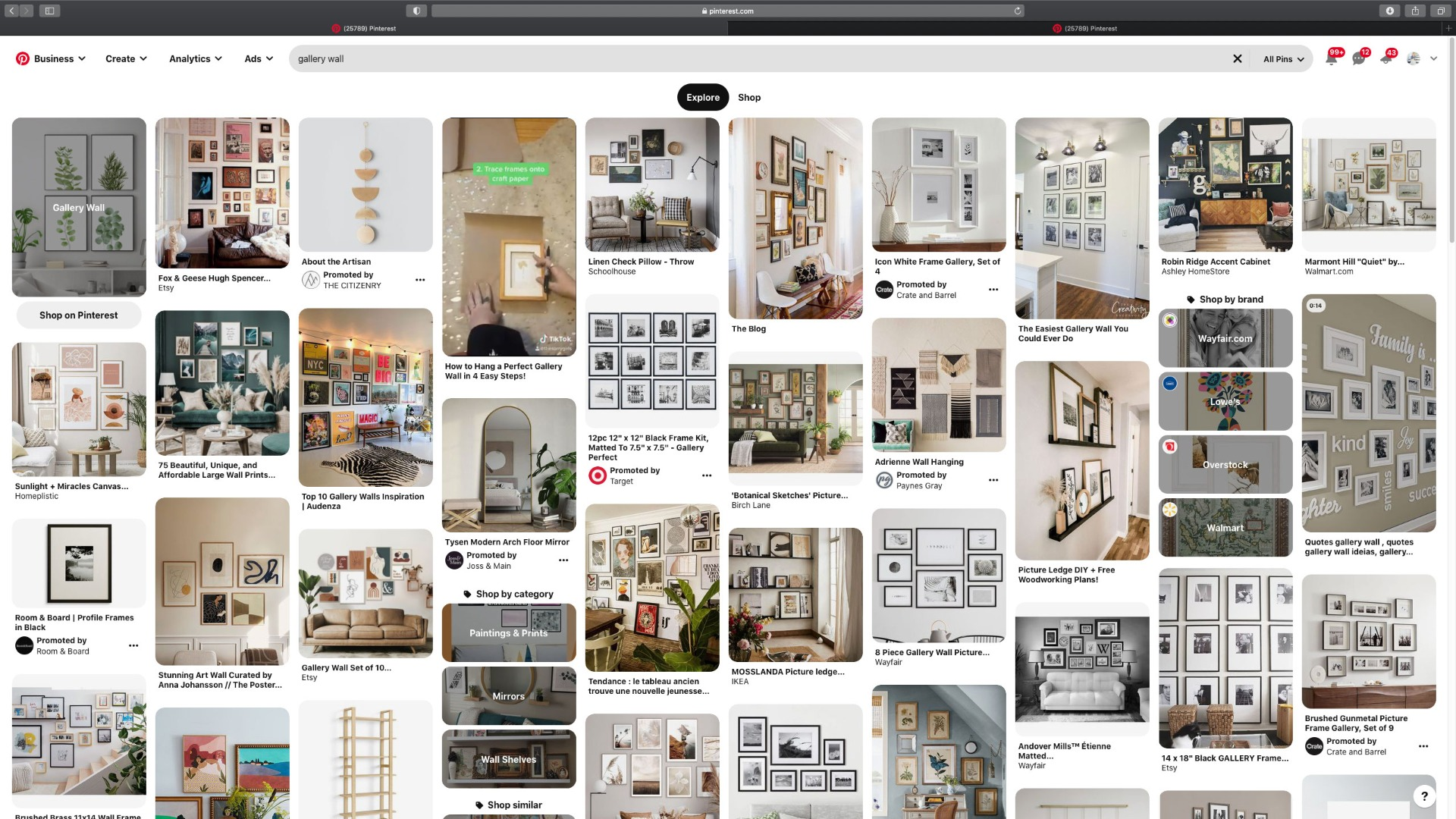 Pinterest Search for Gallery Wall Inspiration