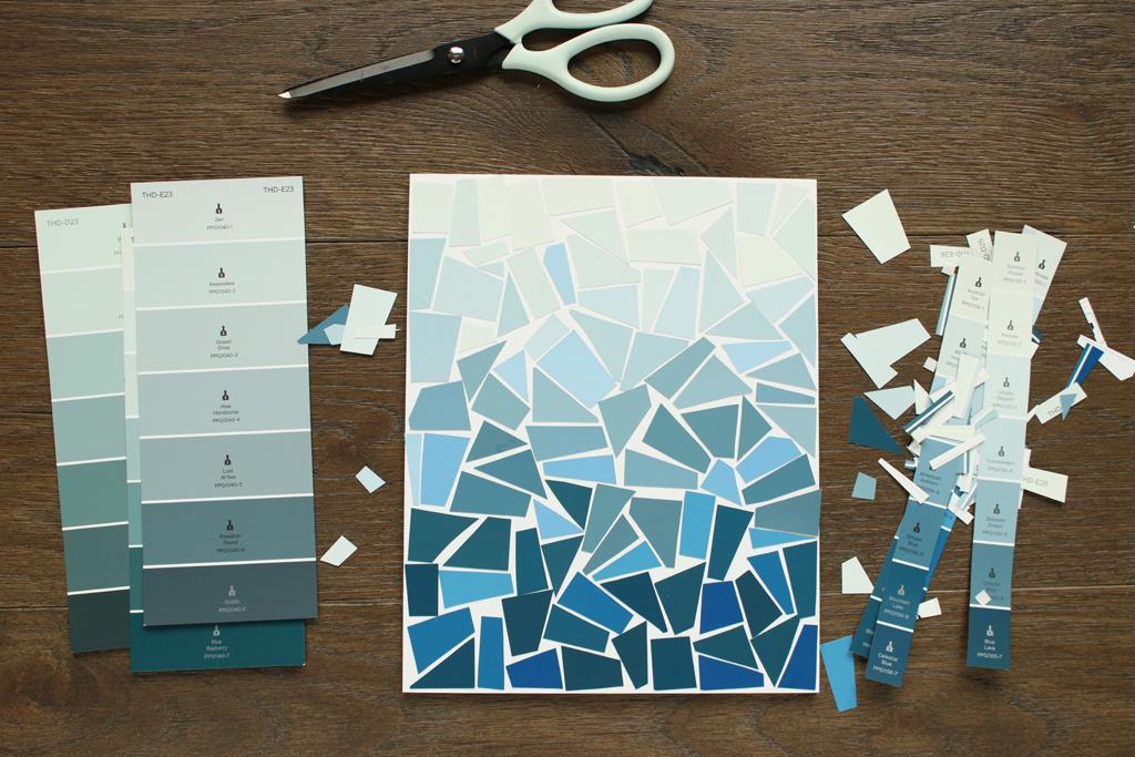 Paint Chip Collage Art Step 1