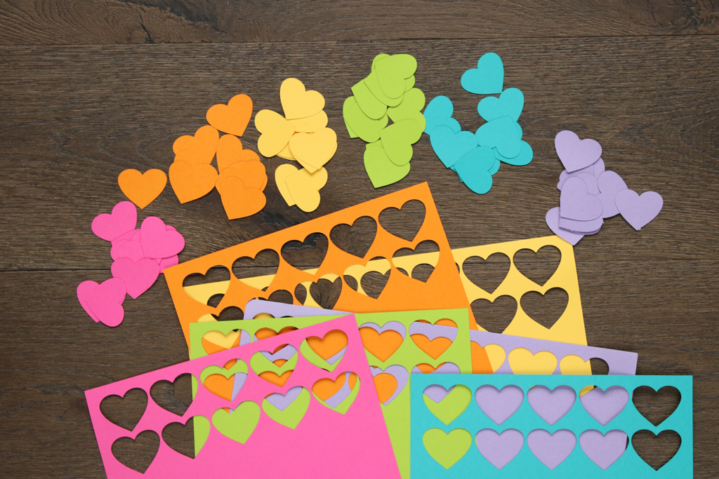 Cut Out Rainbow Hearts