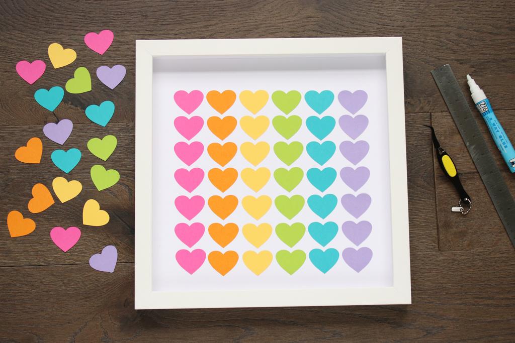 Glue Rainbow Hearts