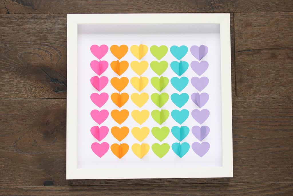 Rainbow Hearts Shadow Box Complete