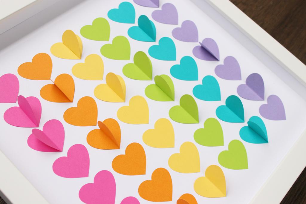 Rainbow Heart Shadow Box Closeup