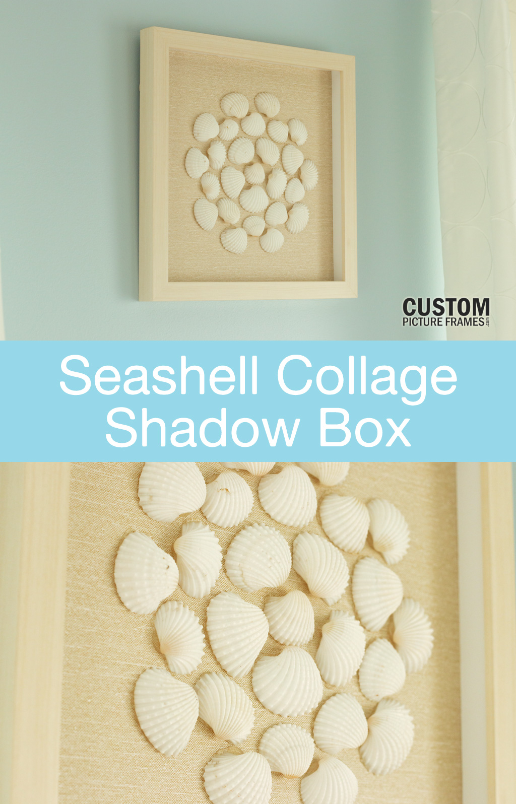 DIY Seashell Collage Shadow Box Pinterest