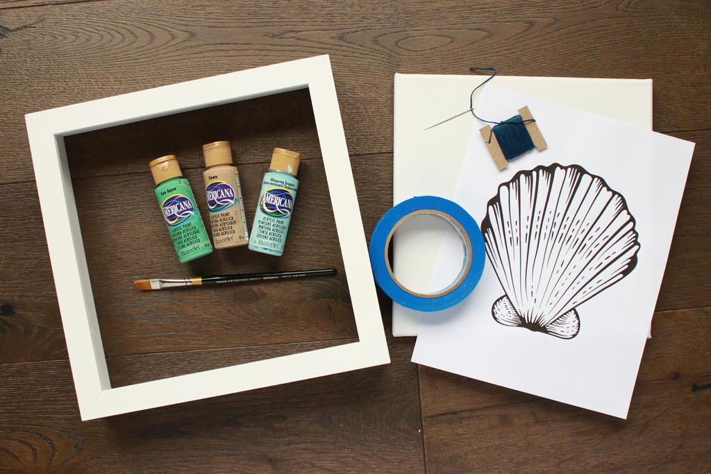 Seashell Embroidered Canvas Supplies