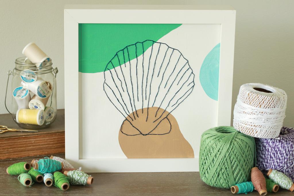 Seashell Embroidered Canvas Horizontal