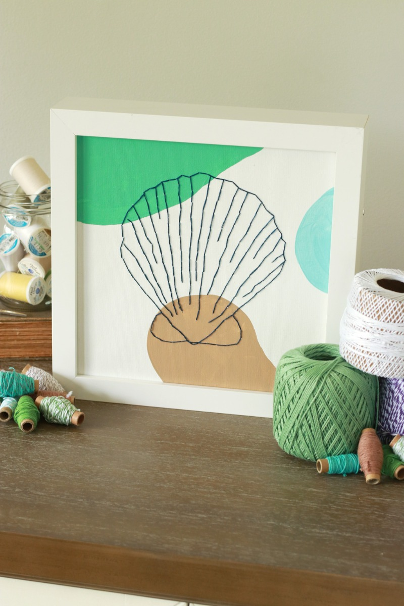 Seashell Embroidered Canvas Vertical