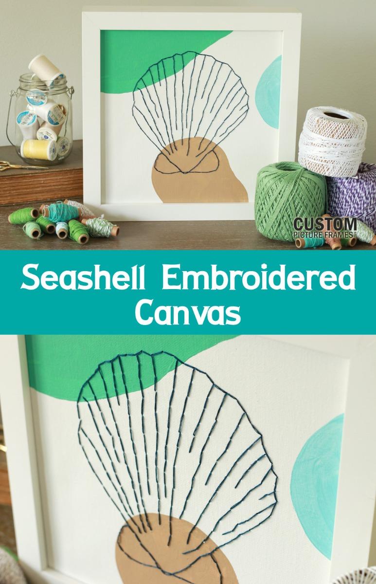 DIY Seashell Embroidered Canvas Pinterest Image