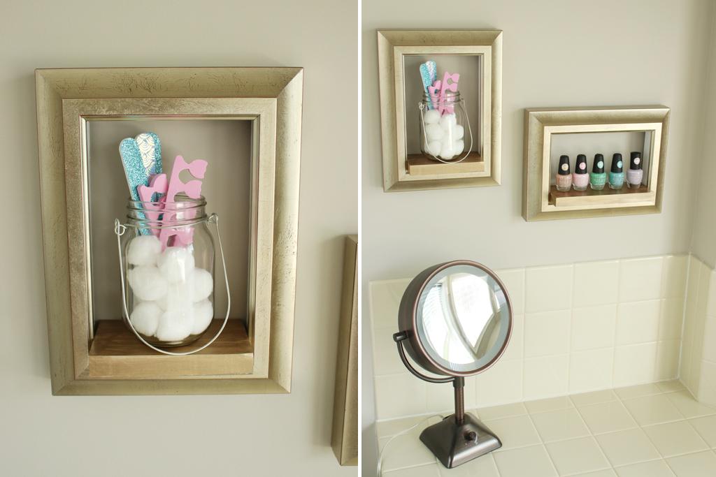 DIY Frame Shelves Styled